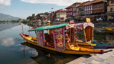 Shikara Boat on the Bank of Dal Lake